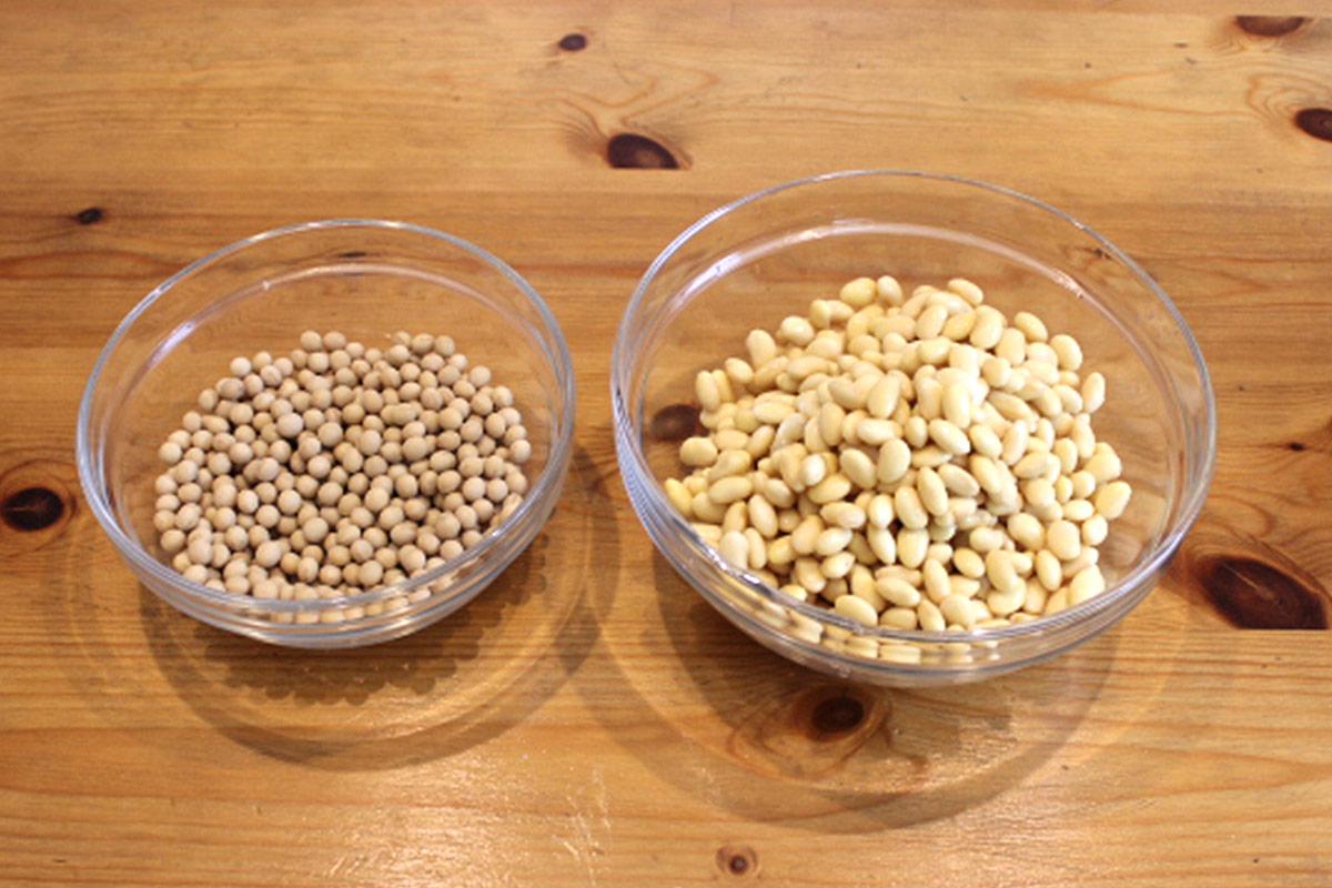 大豆を水に浸ける